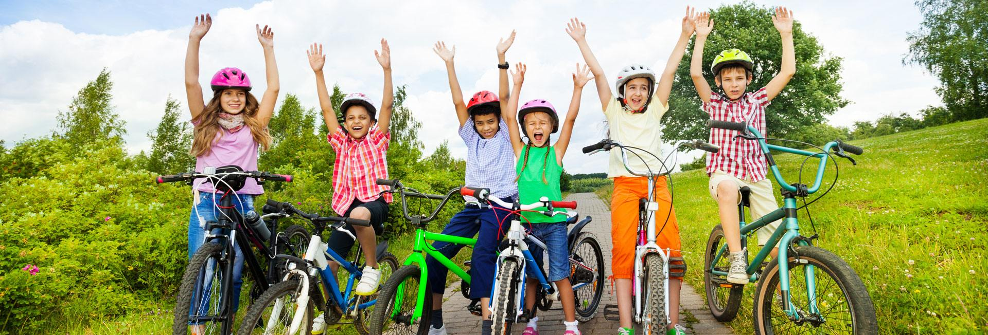 Children on their bikes